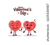 two happy hearts character on... | Shutterstock .eps vector #1635330487