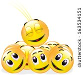 a group of smileys in a team | Shutterstock . vector #163534151