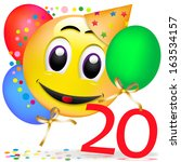 smiley with balloons  having a...   Shutterstock . vector #163534157