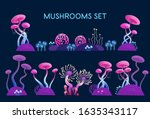 mushrooms set. fantasy... | Shutterstock .eps vector #1635343117