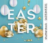 easter vector black background... | Shutterstock .eps vector #1635345331
