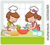 children cooking in the kitchen. | Shutterstock .eps vector #163536485