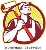 illustration of a house painter ... | Shutterstock .eps vector #163544807