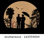 people silhouettes on beautiful ... | Shutterstock .eps vector #163554044