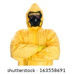 Man In Protective Hazmat Suit....