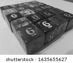 Black and white dice d6 background