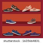 Store Shoes Men 2d Illustration