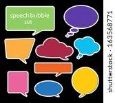 set of speech bubbles in flat...