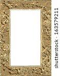 An empty golden frame or border. - stock photo