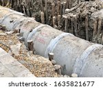 Laying A Concrete Pipe Of...