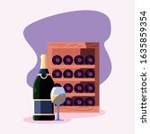 wine bottles cellar and cup... | Shutterstock .eps vector #1635859354