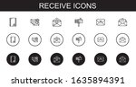 receive icons set. collection...