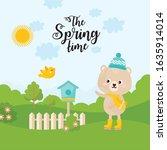 spring nature landscape. cute...   Shutterstock .eps vector #1635914014