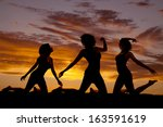 a silhouette of a woman in... | Shutterstock . vector #163591619