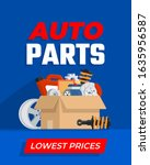 cardboard with car parts.... | Shutterstock .eps vector #1635956587
