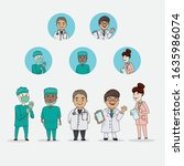 doctor and nurse medical team...   Shutterstock .eps vector #1635986074