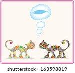 cute cats  meet friends ... | Shutterstock .eps vector #163598819