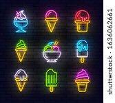 ice cream neon sign  bright... | Shutterstock .eps vector #1636062661