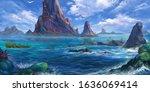 Sea Island  Mountain. Fantasy...