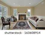 living room in luxury home with ... | Shutterstock . vector #163608914