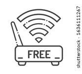 free wifi black line icon....