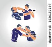 vector krav maga sparring... | Shutterstock .eps vector #1636151164