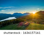 Small photo of Aerial summer view of rural farmstead near scenic Rondane route in Norway