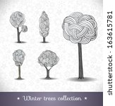 hand drawn winter trees. vector ... | Shutterstock .eps vector #163615781