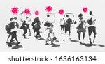 people contracted coronavirus... | Shutterstock . vector #1636163134