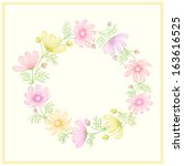 round frame with summer flowers | Shutterstock .eps vector #163616525