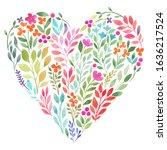 Watercolor Leaf Heart. Heart...