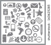 grey icon for web   phone on... | Shutterstock .eps vector #163625285