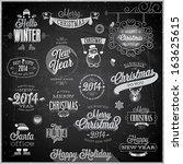 christmas set   labels  emblems ... | Shutterstock .eps vector #163625615