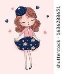 cute little princess girl.... | Shutterstock .eps vector #1636288651
