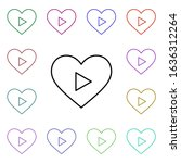 heart play button multi color...