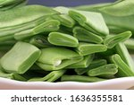 Raw Flat Green Beans Cutted On...