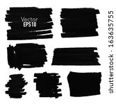 set of hand drawn paint stains  ... | Shutterstock .eps vector #163635755