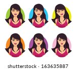 pretty girl with different... | Shutterstock .eps vector #163635887