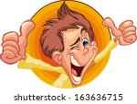 boy out of an orange circle... | Shutterstock .eps vector #163636715