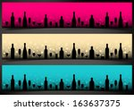 three festive banners with... | Shutterstock .eps vector #163637375