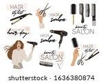 set of hair salon logo beauty...   Shutterstock .eps vector #1636380874