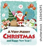 Vintage Christmas poster design with Santa Claus, elf & snowman