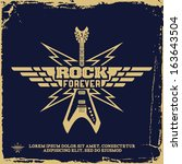 vintage label with rock forever ... | Shutterstock .eps vector #163643504