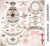 set of calligraphic design... | Shutterstock .eps vector #163643804