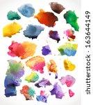 vector watercolor  splashes ... | Shutterstock .eps vector #163644149