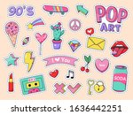 fashion pop art patch stickers. ... | Shutterstock .eps vector #1636442251