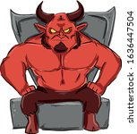 A Red Muscular Devil With Horn...
