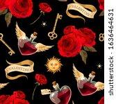 seamless pattern with bottles... | Shutterstock .eps vector #1636464631