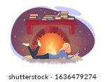girl read book in winter by...   Shutterstock .eps vector #1636479274