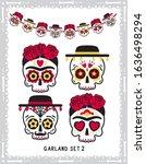 cute classic sugar skulls set... | Shutterstock .eps vector #1636498294
